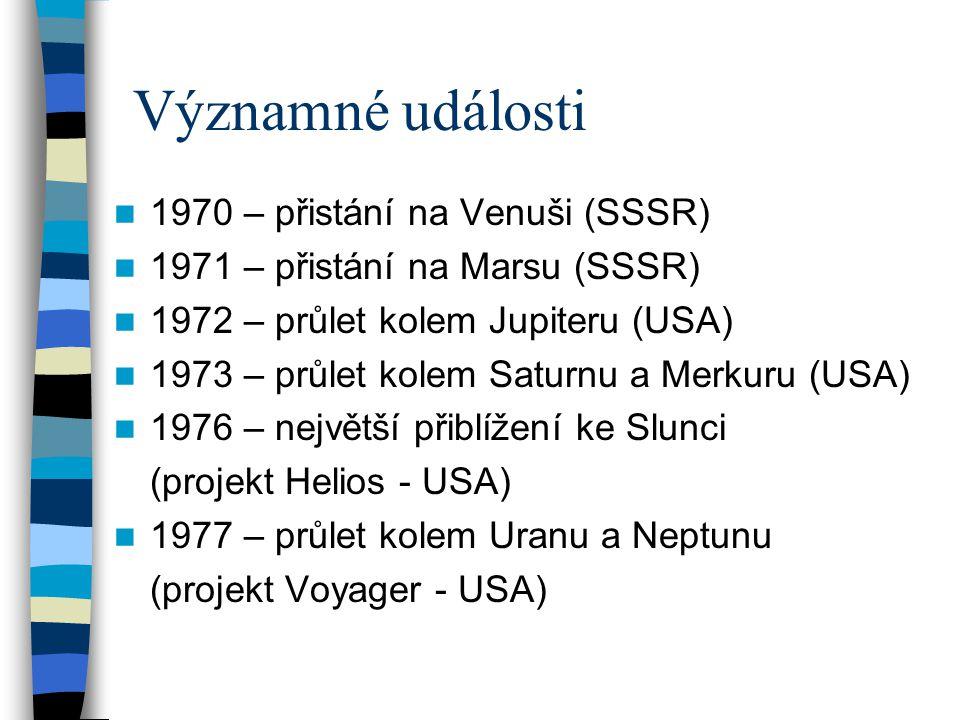 Významné události 1970 – přistání na Venuši (SSSR)