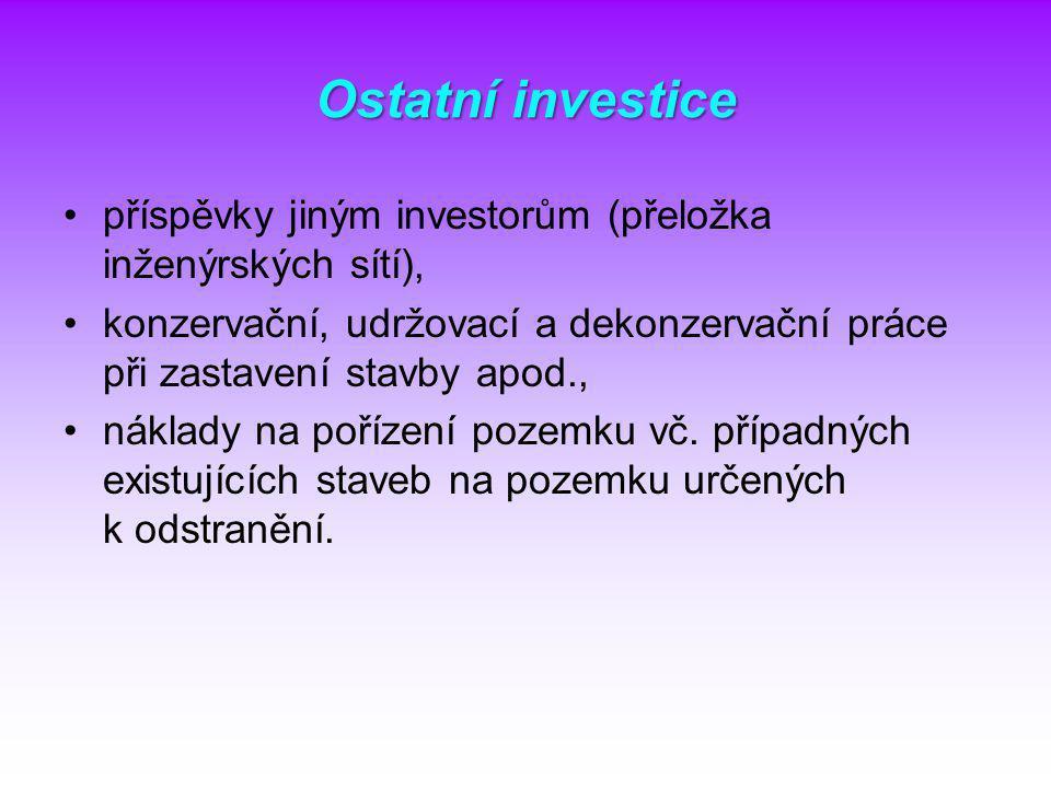 Ostatní investice příspěvky jiným investorům (přeložka inženýrských sítí), konzervační, udržovací a dekonzervační práce při zastavení stavby apod.,