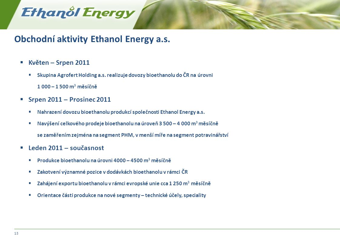 Obchodní aktivity Ethanol Energy a.s.