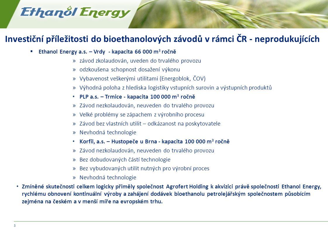 Investiční příležitosti do bioethanolových závodů v rámci ČR - neprodukujících