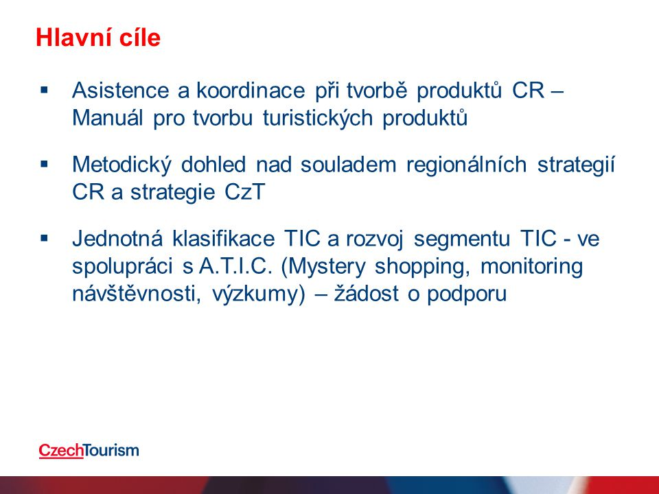 Hlavní cíle Asistence a koordinace při tvorbě produktů CR – Manuál pro tvorbu turistických produktů.