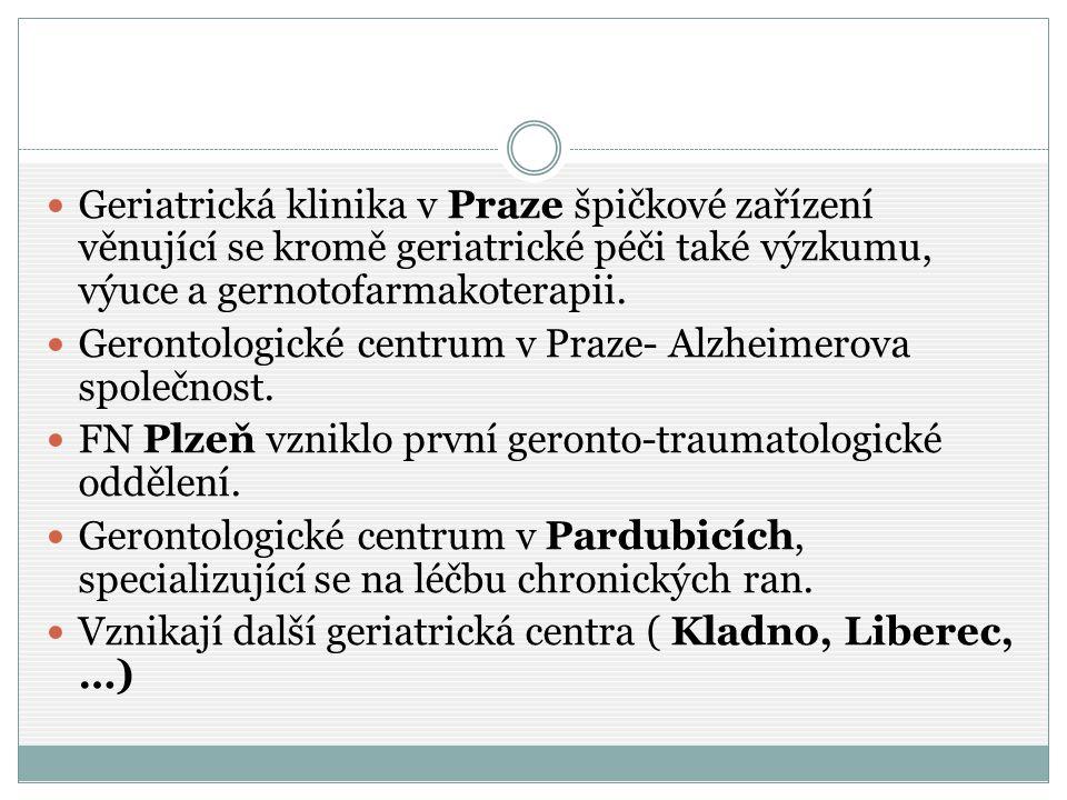 Geriatrická klinika v Praze špičkové zařízení věnující se kromě geriatrické péči také výzkumu, výuce a gernotofarmakoterapii.