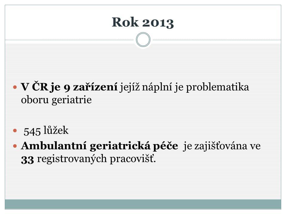 Rok 2013 V ČR je 9 zařízení jejíž náplní je problematika oboru geriatrie. 545 lůžek.