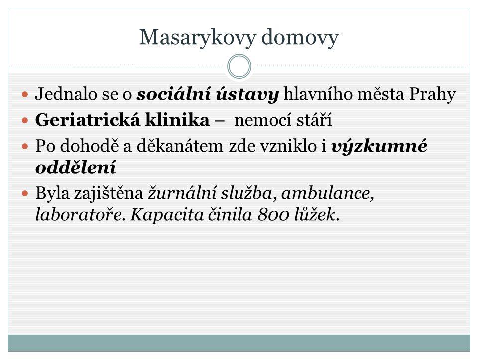 Masarykovy domovy Jednalo se o sociální ústavy hlavního města Prahy