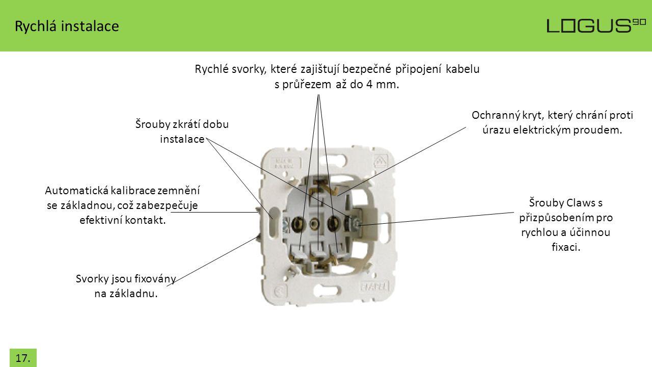 Rychlá instalace Rychlé svorky, které zajištují bezpečné připojení kabelu. s průřezem až do 4 mm.