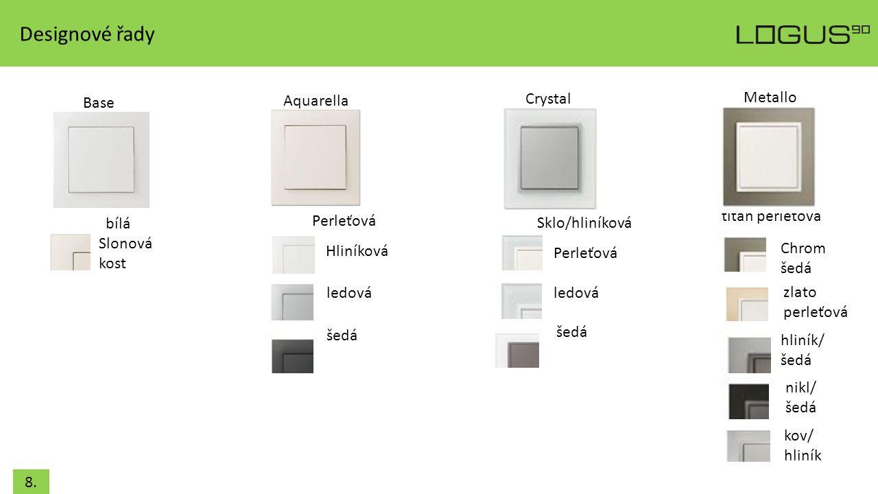 Designové řady Aquarella Crystal Metallo Base titan perleťová bílá