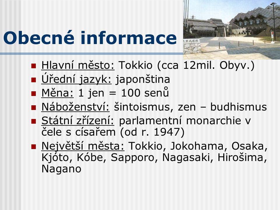 Obecné informace Hlavní město: Tokkio (cca 12mil. Obyv.)
