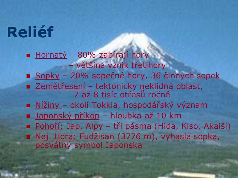 Reliéf Hornatý – 80% zabírají hory – většina vznik třetihory