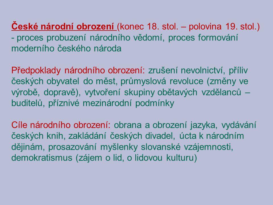 České národní obrození (konec 18. stol. – polovina 19. stol.)
