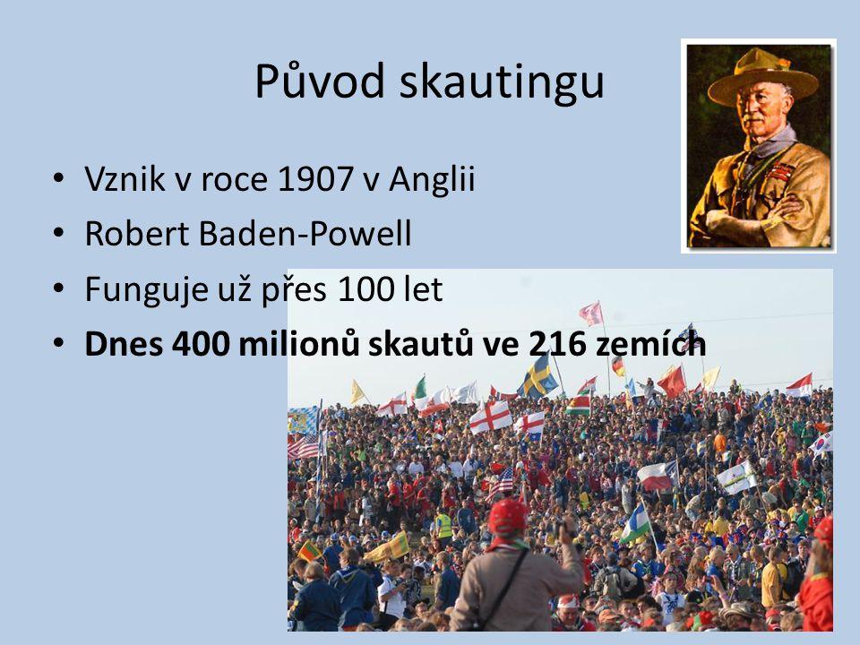 Původ skautingu Vznik v roce 1907 v Anglii Robert Baden-Powell