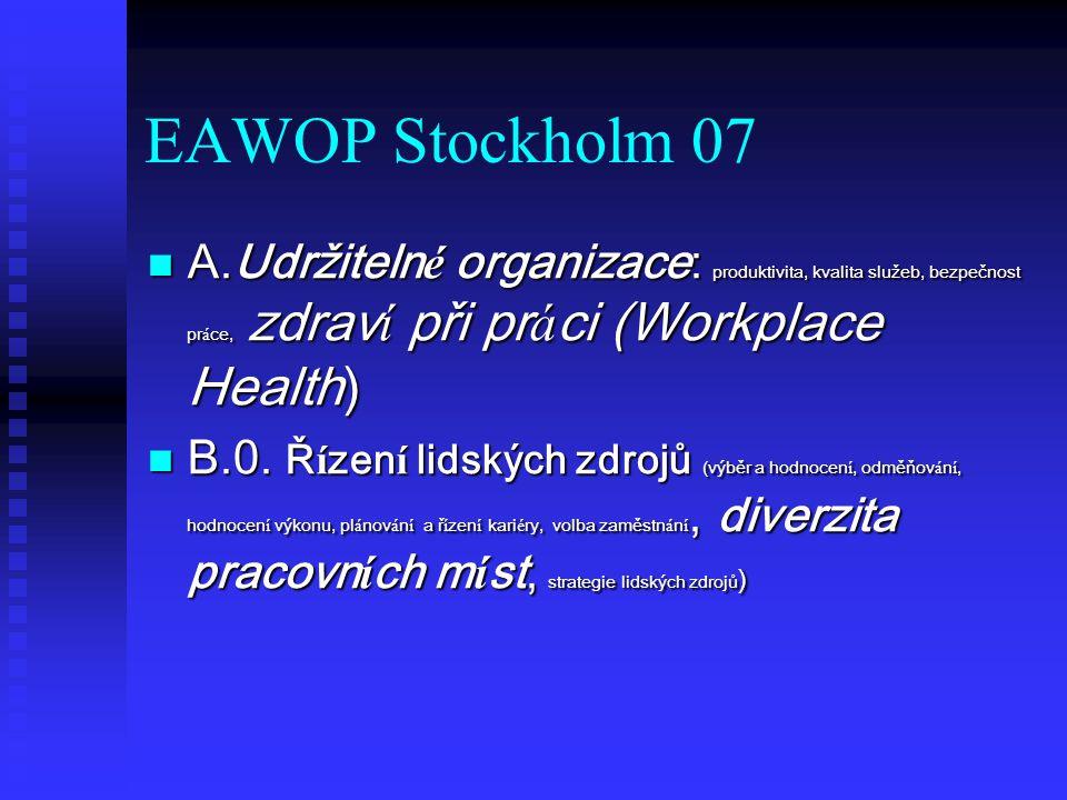 EAWOP Stockholm 07 A.Udržitelné organizace: produktivita, kvalita služeb, bezpečnost práce, zdraví při práci (Workplace Health)