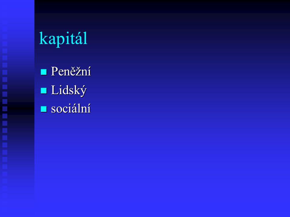 kapitál Peněžní Lidský sociální