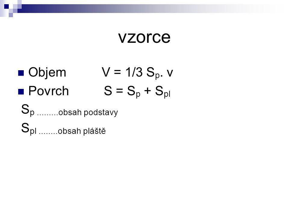 vzorce Objem V = 1/3 Sp. v Povrch S = Sp + Spl