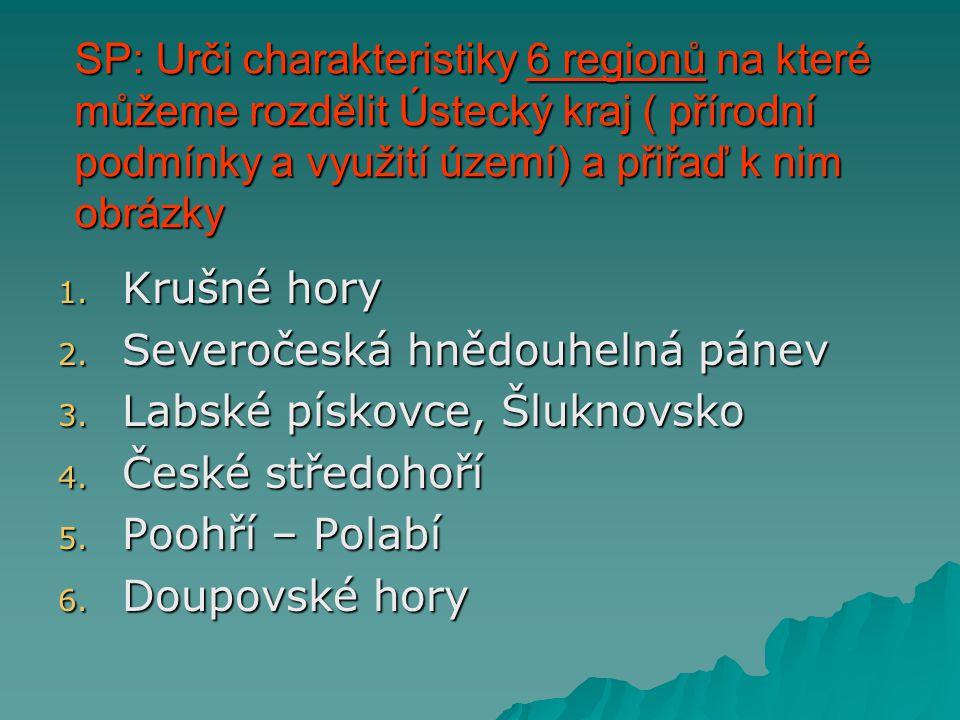 SP: Urči charakteristiky 6 regionů na které můžeme rozdělit Ústecký kraj ( přírodní podmínky a využití území) a přiřaď k nim obrázky