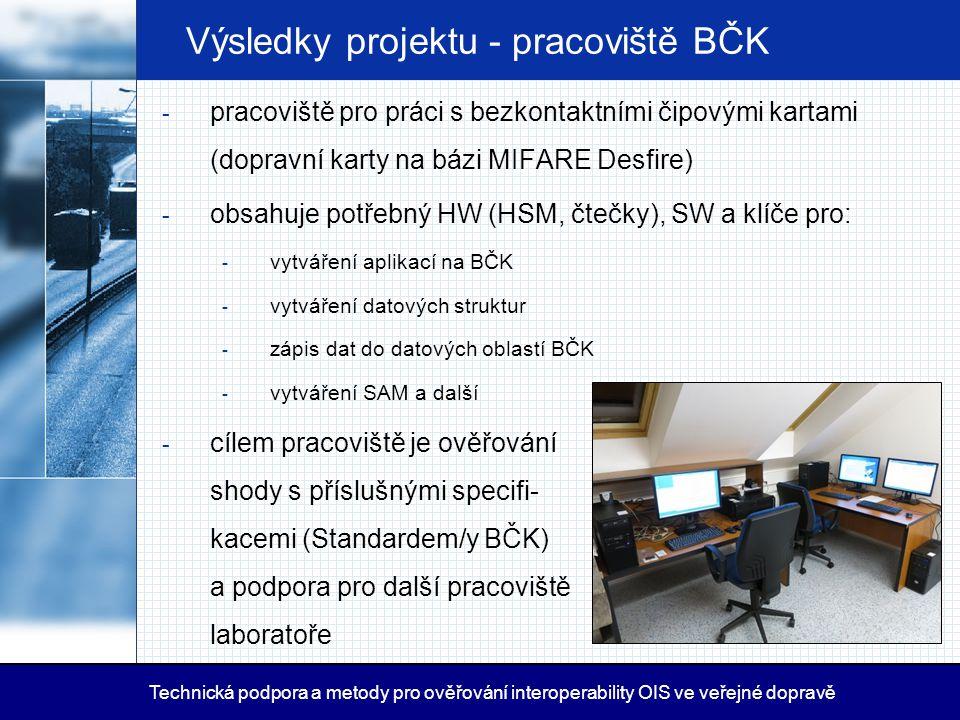Výsledky projektu - pracoviště BČK