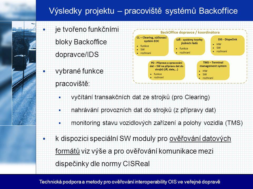 Výsledky projektu – pracoviště systémů Backoffice