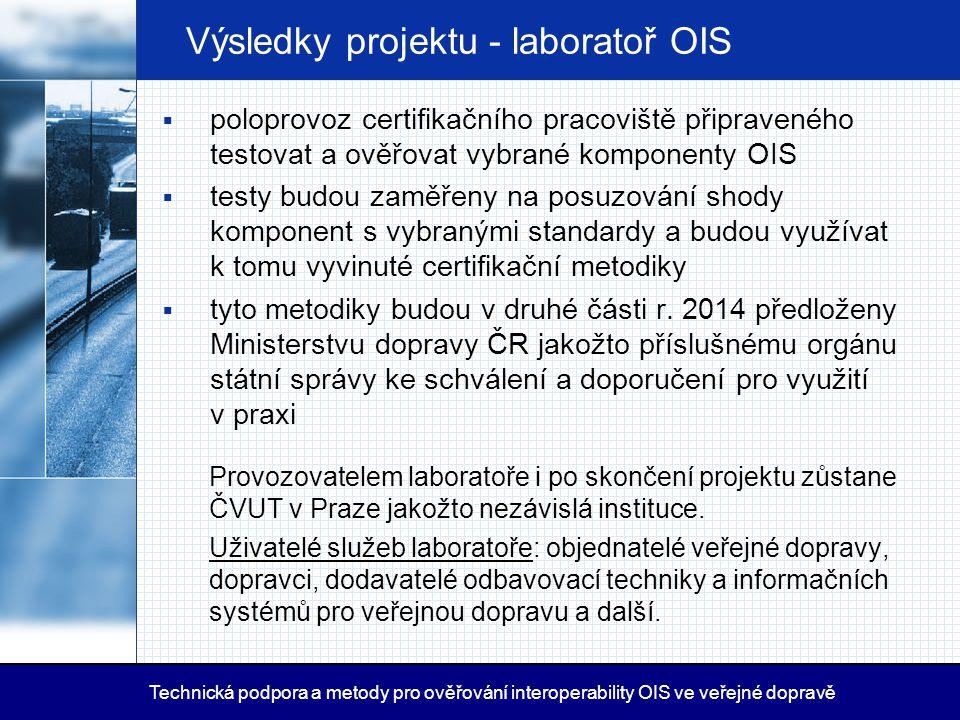 Výsledky projektu - laboratoř OIS