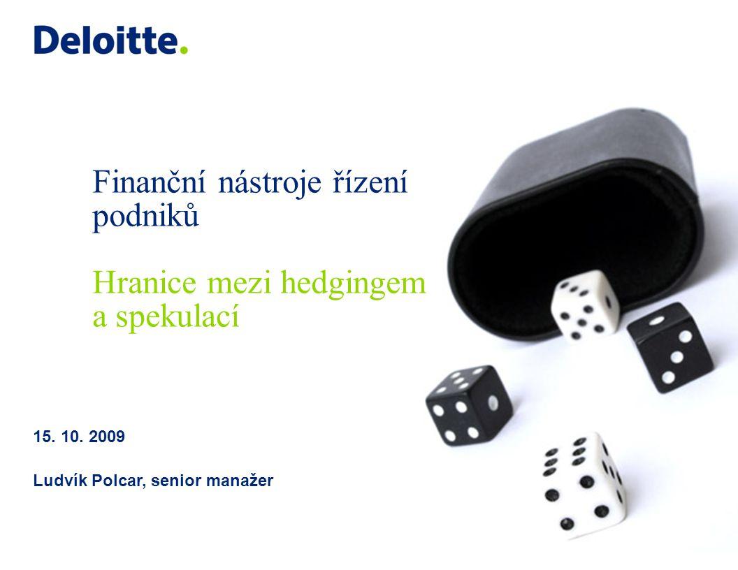 Finanční nástroje řízení podniků Hranice mezi hedgingem a spekulací