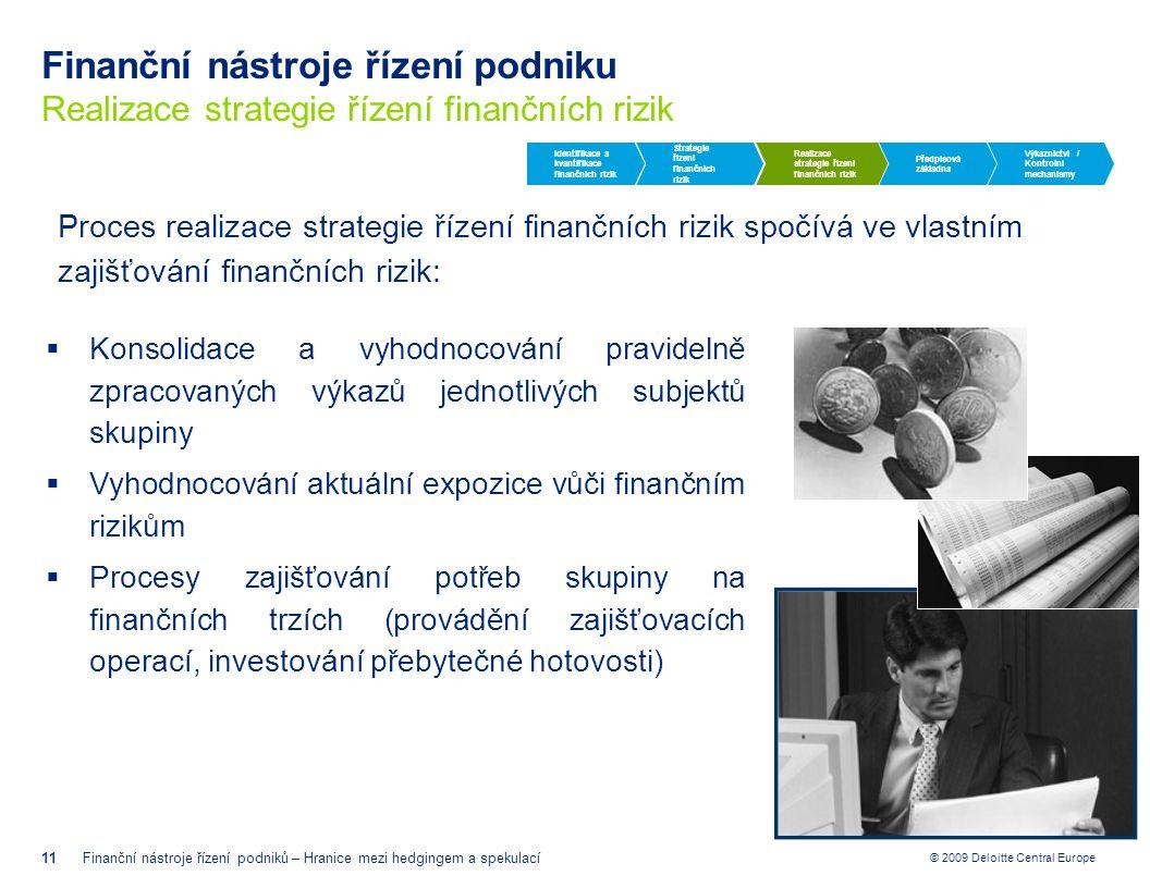 Finanční nástroje řízení podniku Realizace strategie řízení finančních rizik