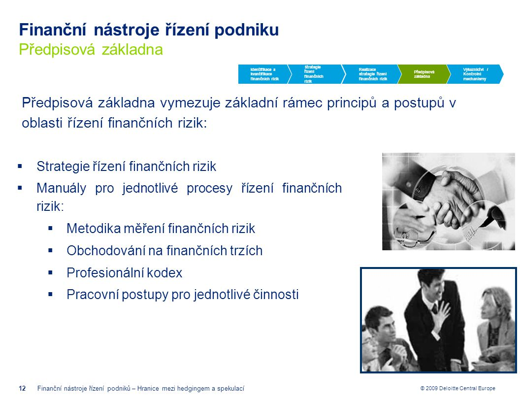 Finanční nástroje řízení podniku Předpisová základna
