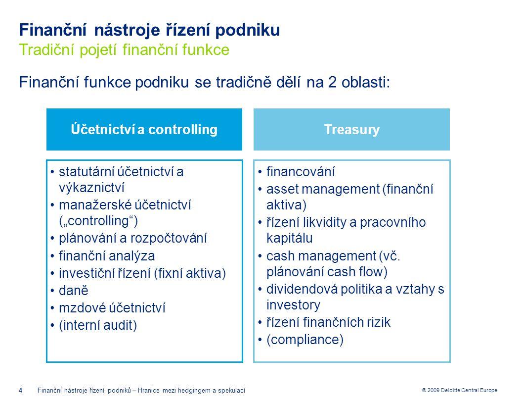 Finanční nástroje řízení podniku Tradiční pojetí finanční funkce