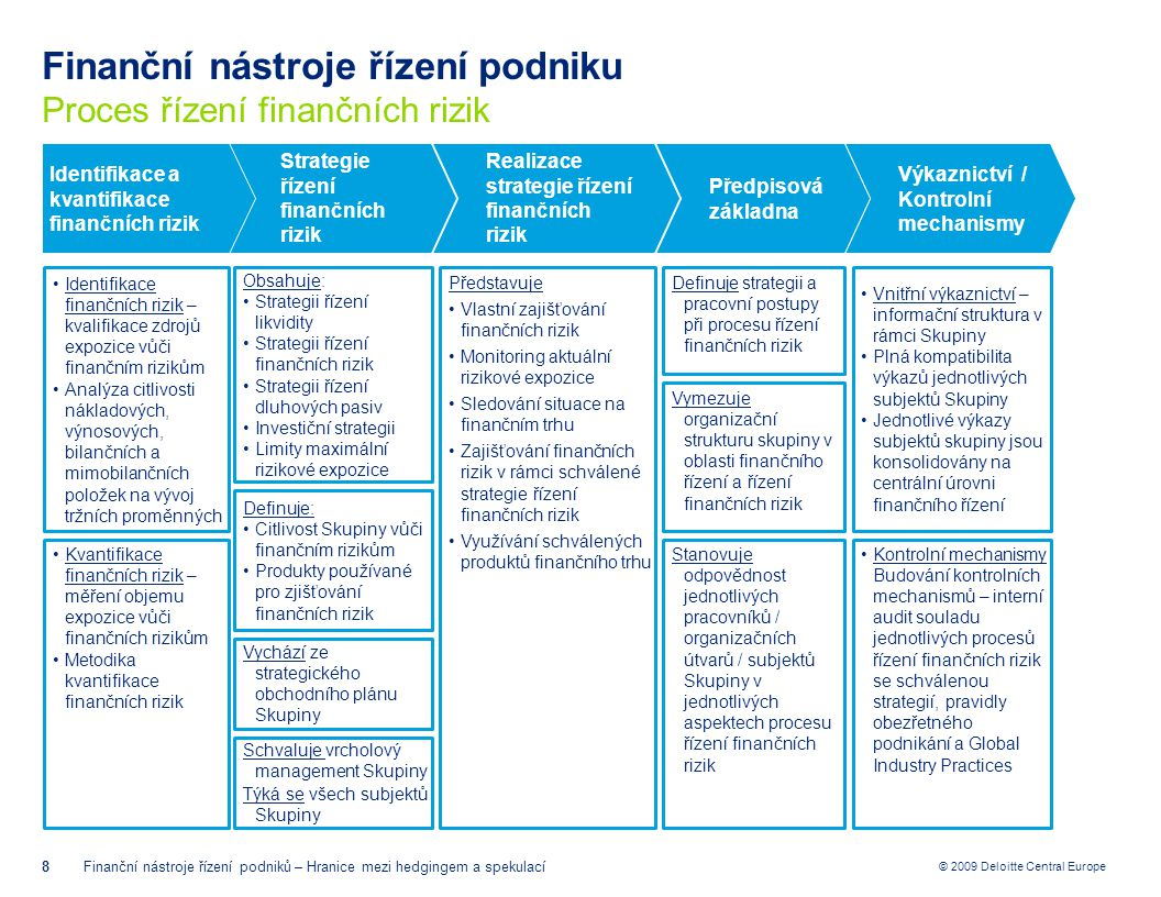 Finanční nástroje řízení podniku Proces řízení finančních rizik