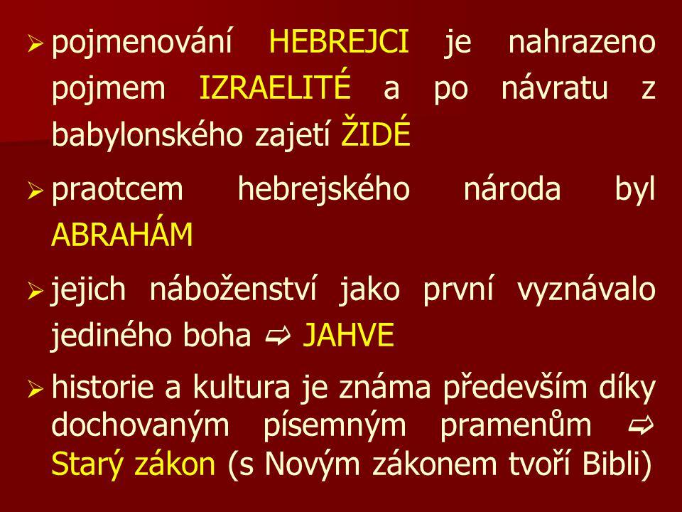 pojmenování HEBREJCI je nahrazeno pojmem IZRAELITÉ a po návratu z babylonského zajetí ŽIDÉ