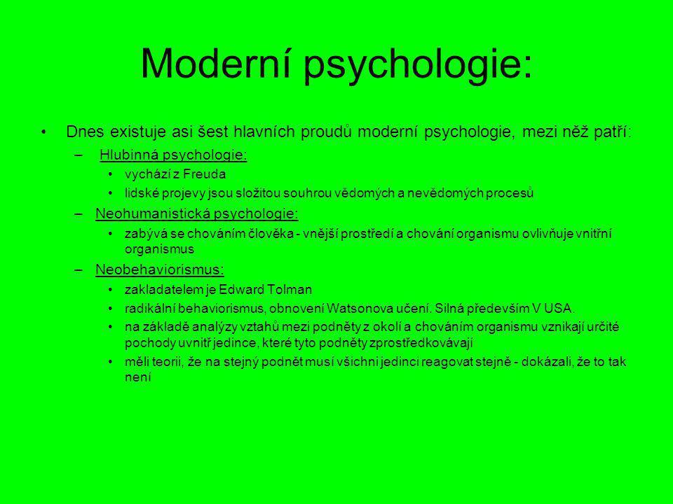 Moderní psychologie: Dnes existuje asi šest hlavních proudů moderní psychologie, mezi něž patří: Hlubinná psychologie: