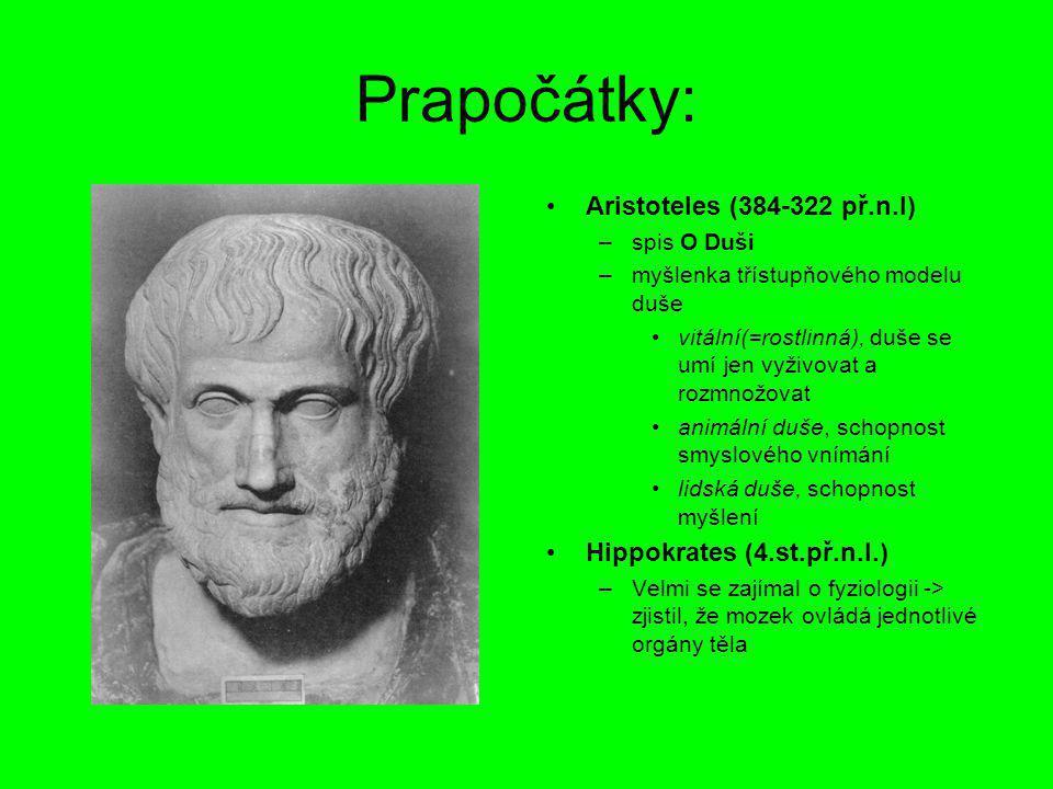 Prapočátky: Aristoteles (384-322 př.n.l) Hippokrates (4.st.př.n.l.)