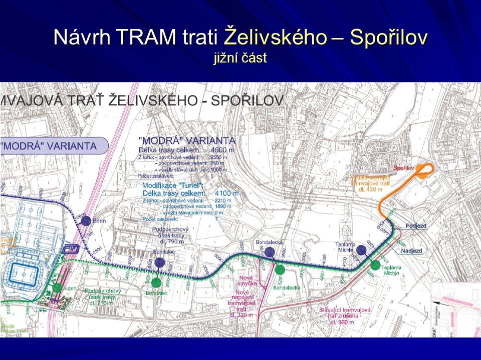 Návrh TRAM trati Želivského – Spořilov jižní část