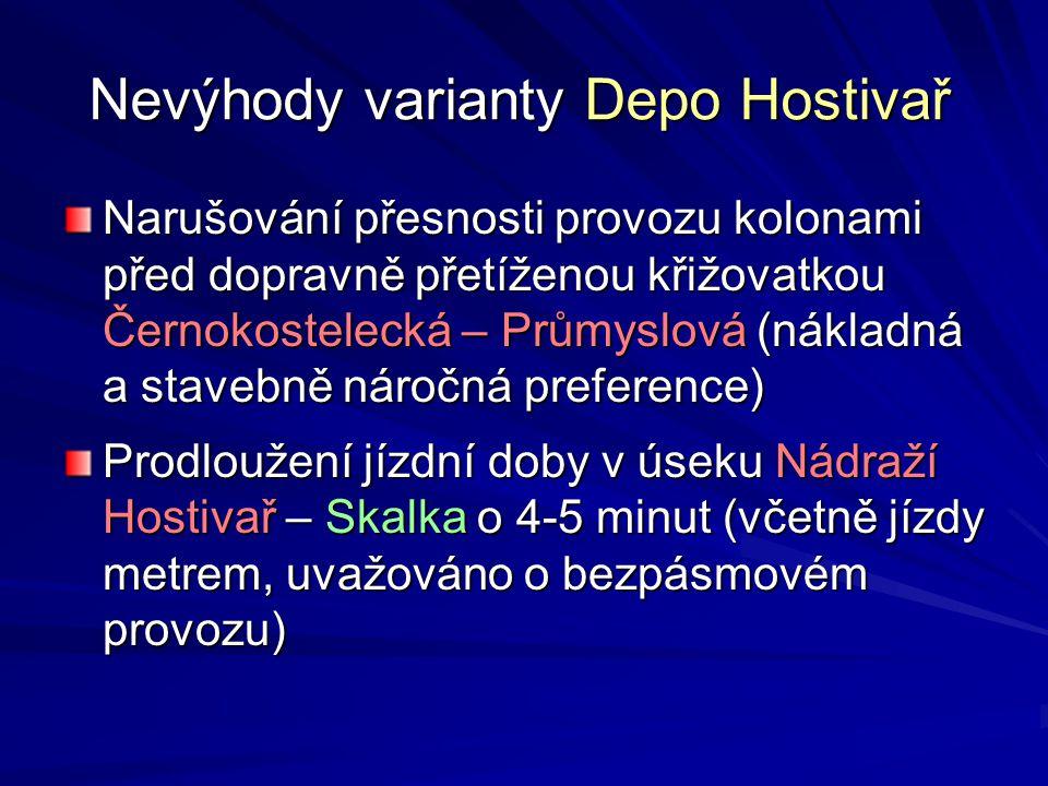 Nevýhody varianty Depo Hostivař