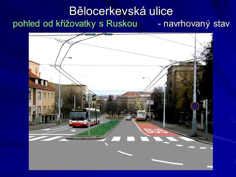 Bělocerkevská ulice pohled od křižovatky s Ruskou - navrhovaný stav