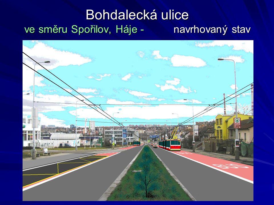 Bohdalecká ulice ve směru Spořilov, Háje - navrhovaný stav