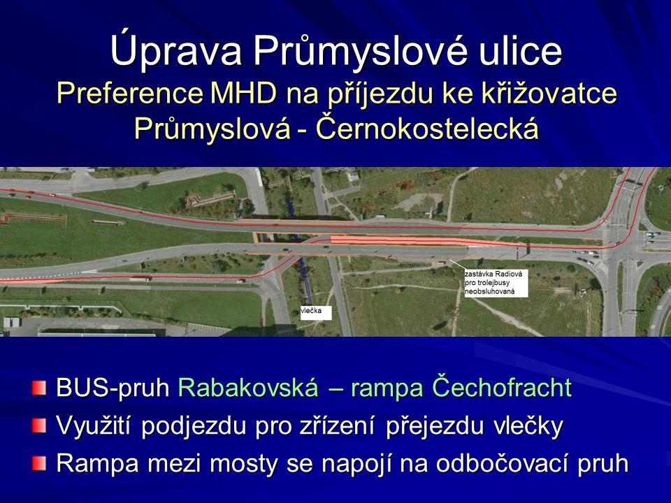 Úprava Průmyslové ulice Preference MHD na příjezdu ke křižovatce Průmyslová - Černokostelecká