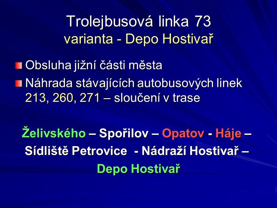Trolejbusová linka 73 varianta - Depo Hostivař