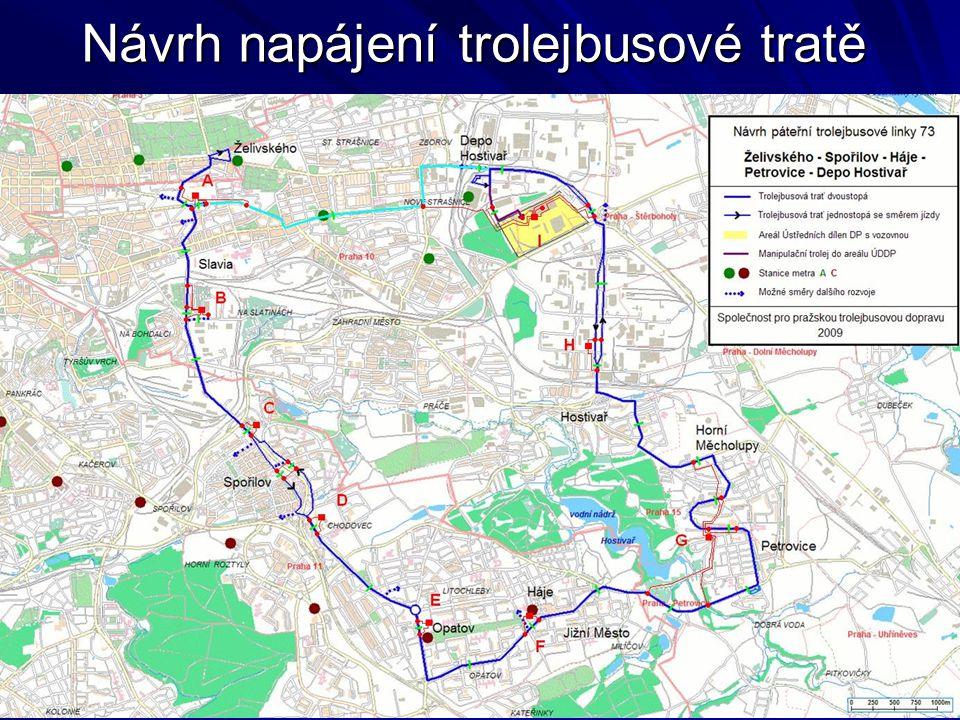 Návrh napájení trolejbusové tratě