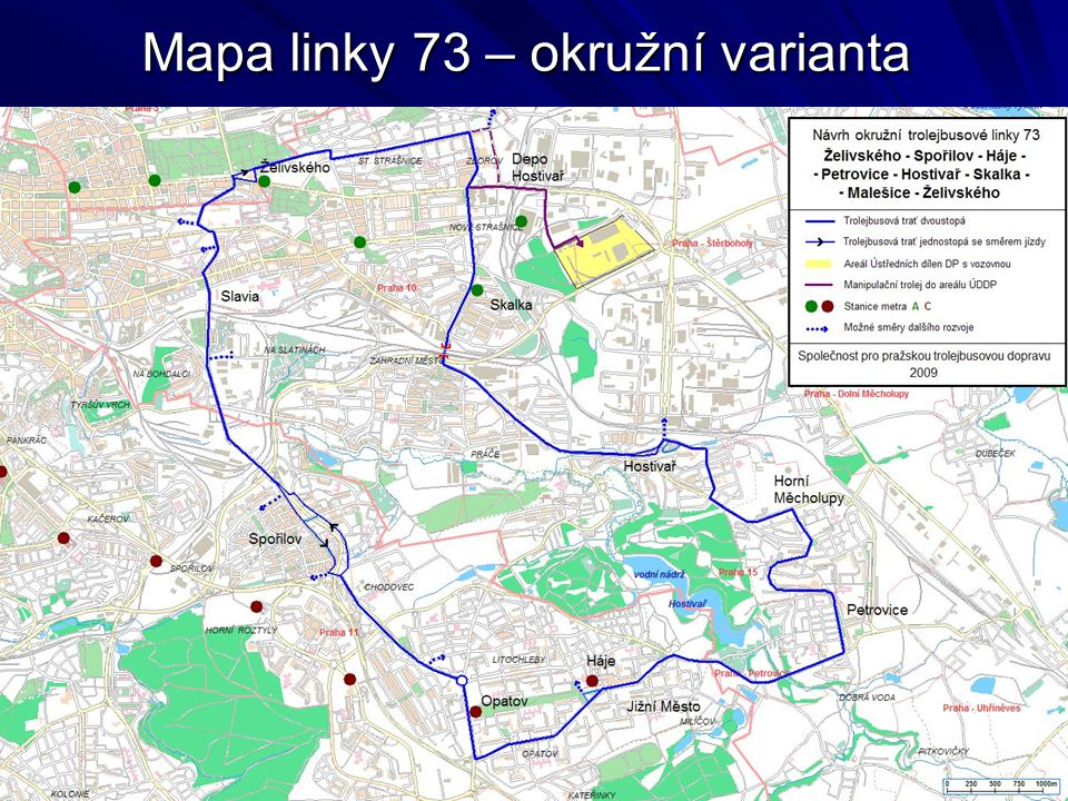 Mapa linky 73 – okružní varianta