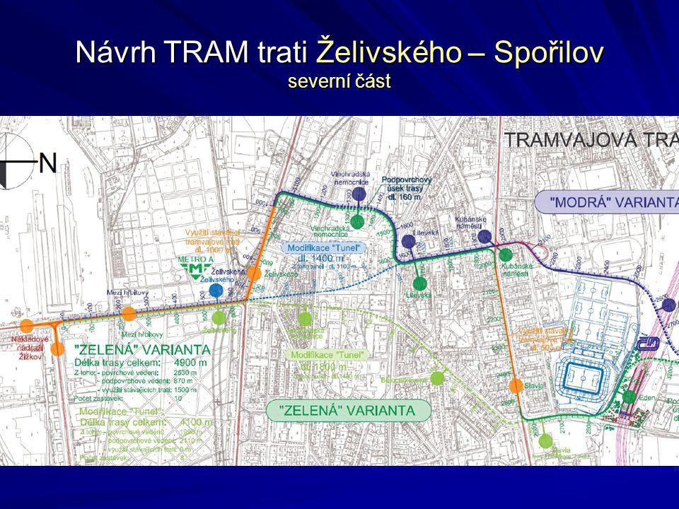 Návrh TRAM trati Želivského – Spořilov severní část