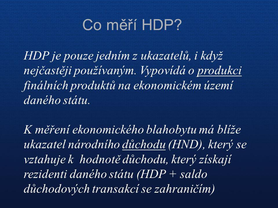 Co měří HDP HDP je pouze jedním z ukazatelů, i když nejčastěji používaným. Vypovídá o produkci finálních produktů na ekonomickém území daného státu.