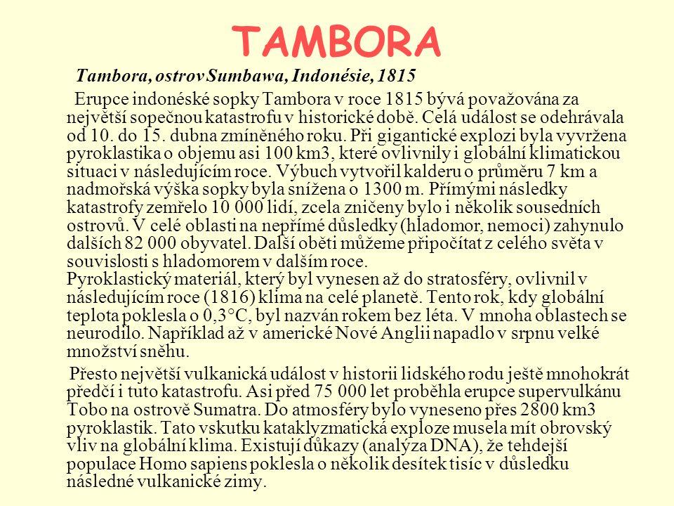 TAMBORA Tambora, ostrov Sumbawa, Indonésie, 1815