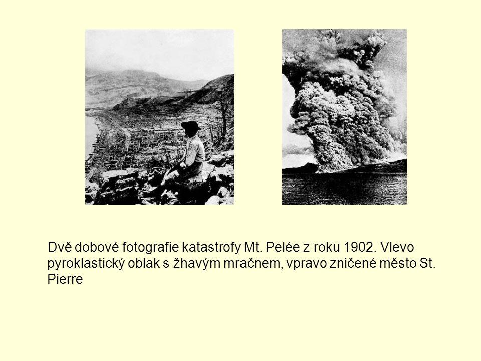Dvě dobové fotografie katastrofy Mt. Pelée z roku 1902