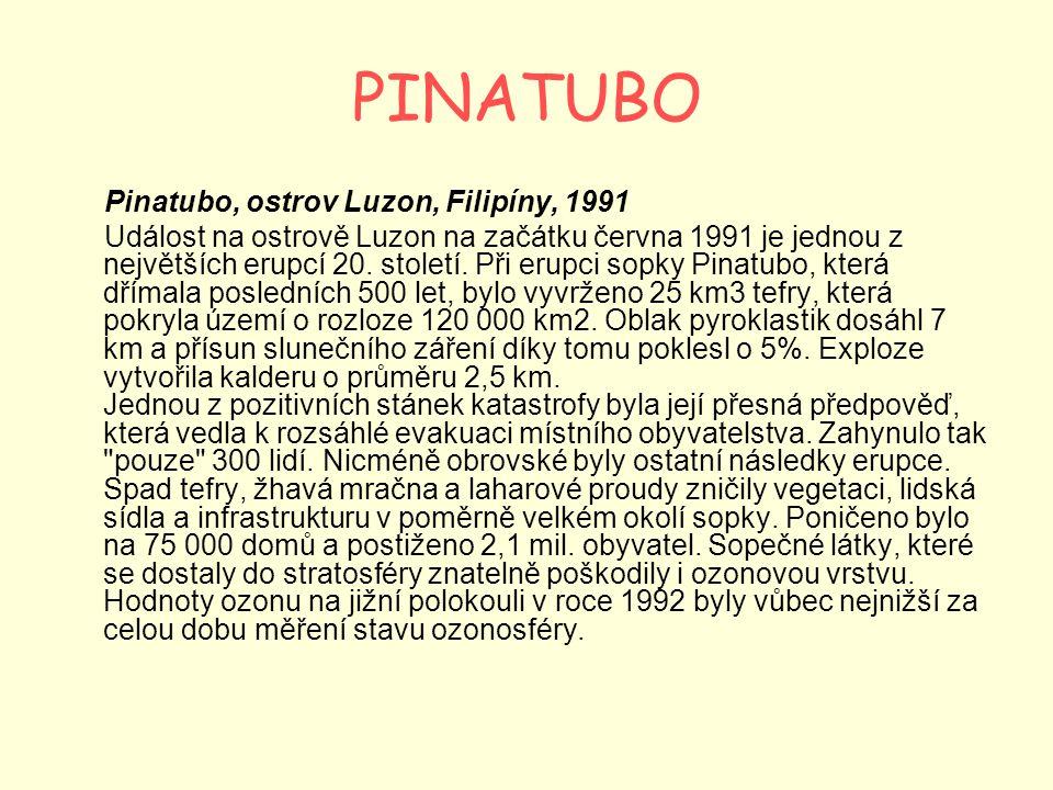 PINATUBO Pinatubo, ostrov Luzon, Filipíny, 1991