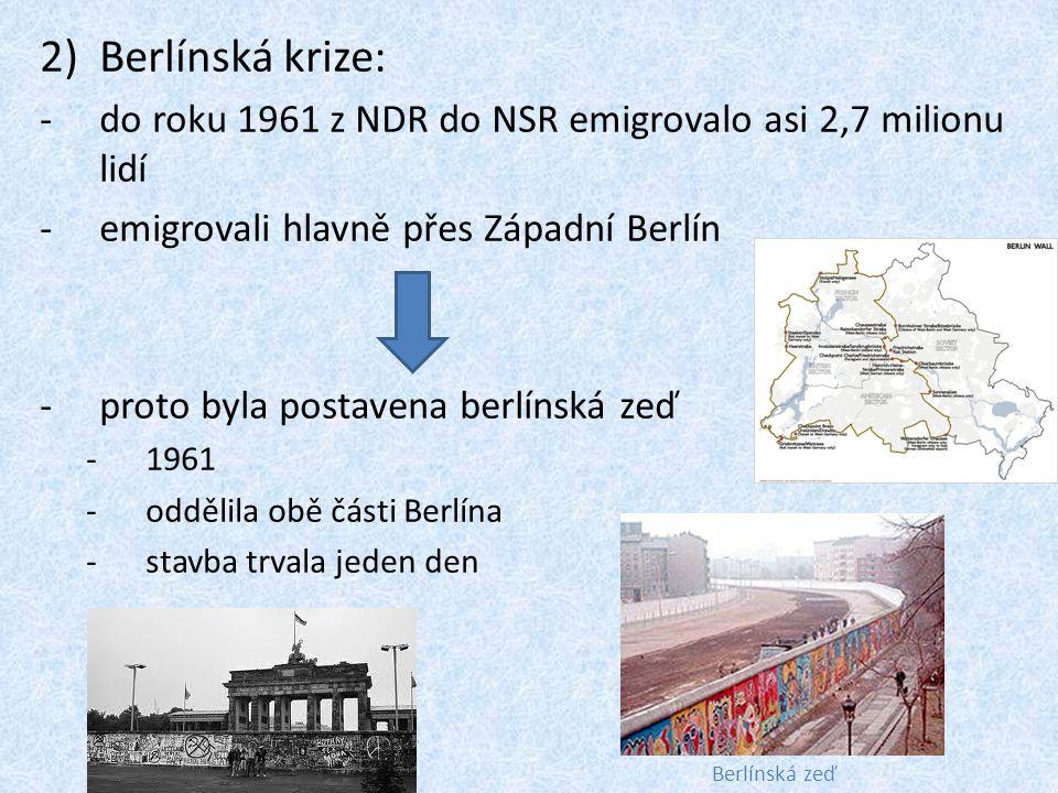 Berlínská krize: do roku 1961 z NDR do NSR emigrovalo asi 2,7 milionu lidí. emigrovali hlavně přes Západní Berlín.