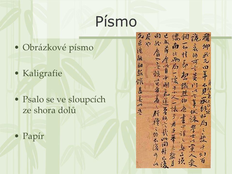 Písmo Obrázkové písmo Kaligrafie Psalo se ve sloupcích ze shora dolů