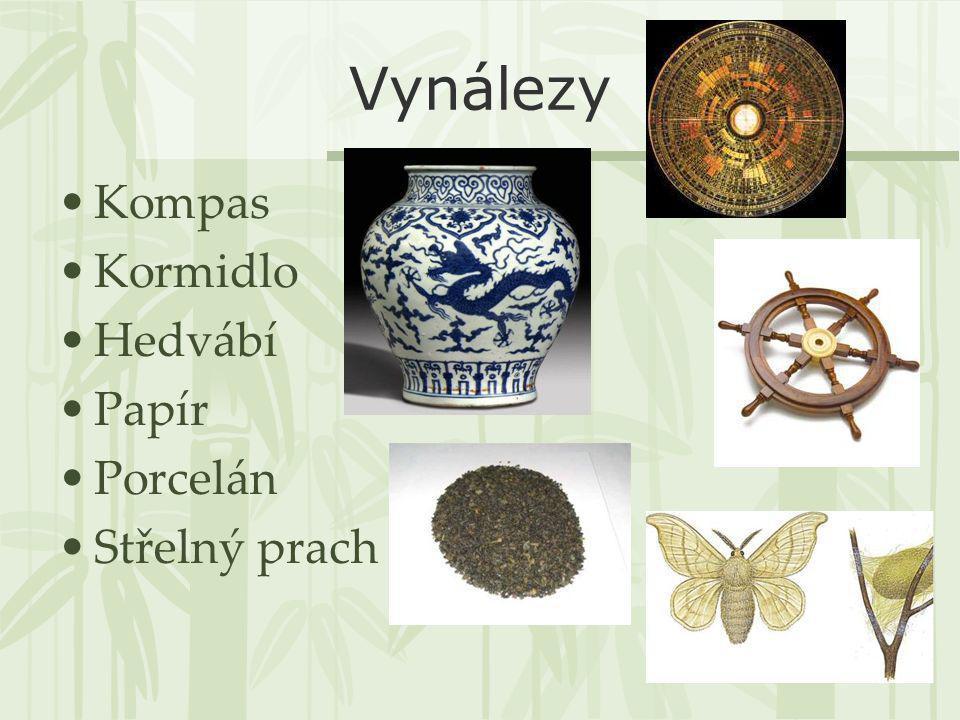 Vynálezy Kompas Kormidlo Hedvábí Papír Porcelán Střelný prach