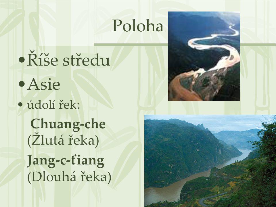 Poloha Říše středu Asie Jang-c-ťiang (Dlouhá řeka) údolí řek: