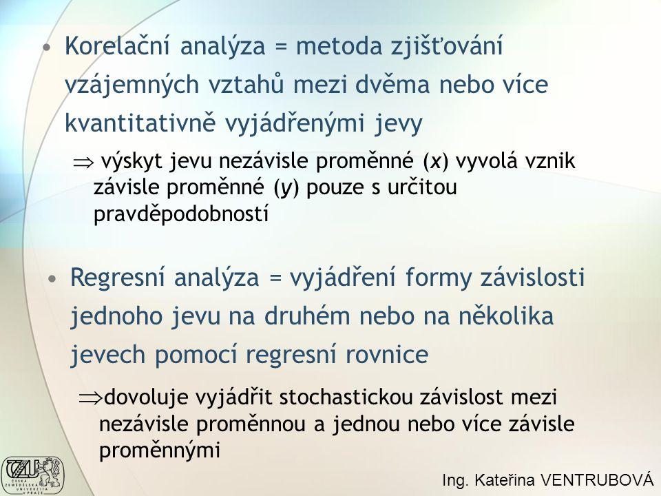 Korelační analýza = metoda zjišťování vzájemných vztahů mezi dvěma nebo více kvantitativně vyjádřenými jevy