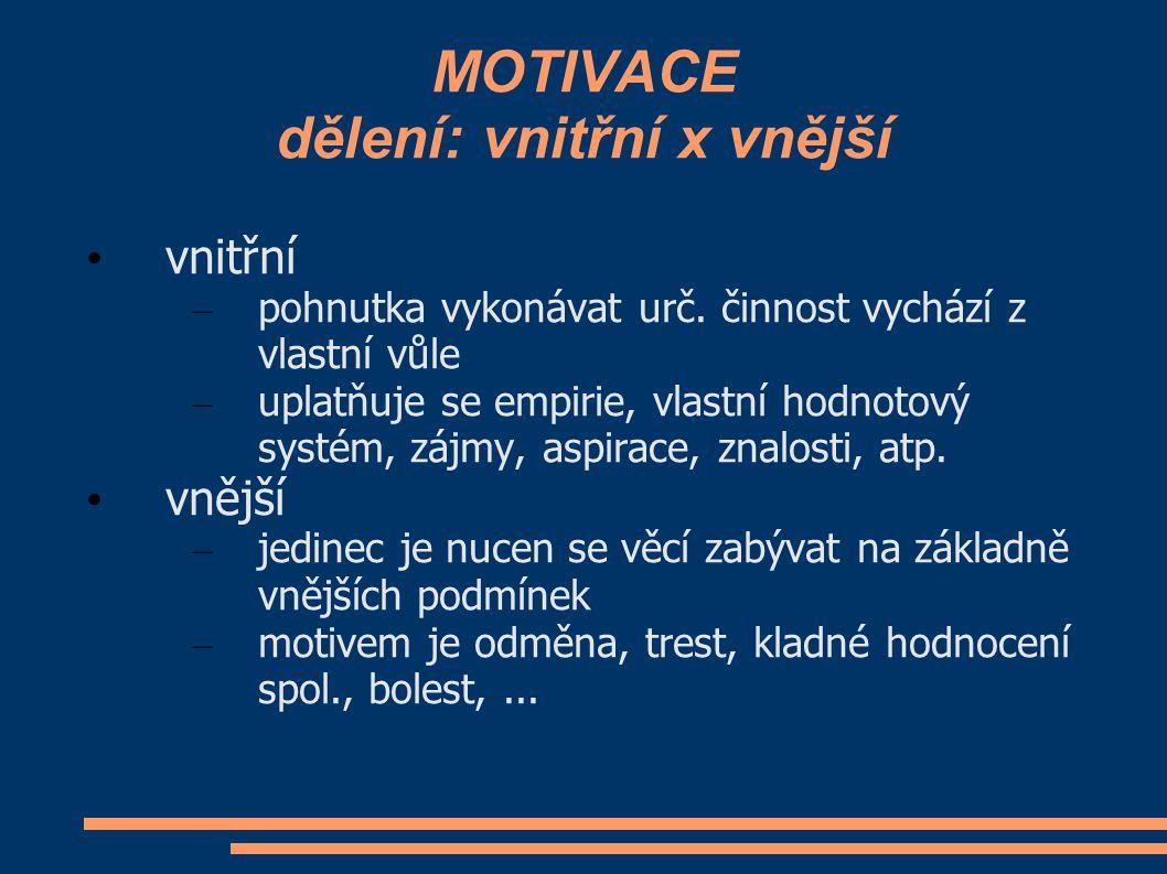 MOTIVACE dělení: vnitřní x vnější