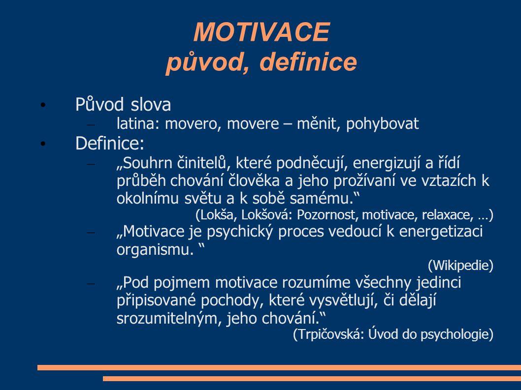 MOTIVACE původ, definice