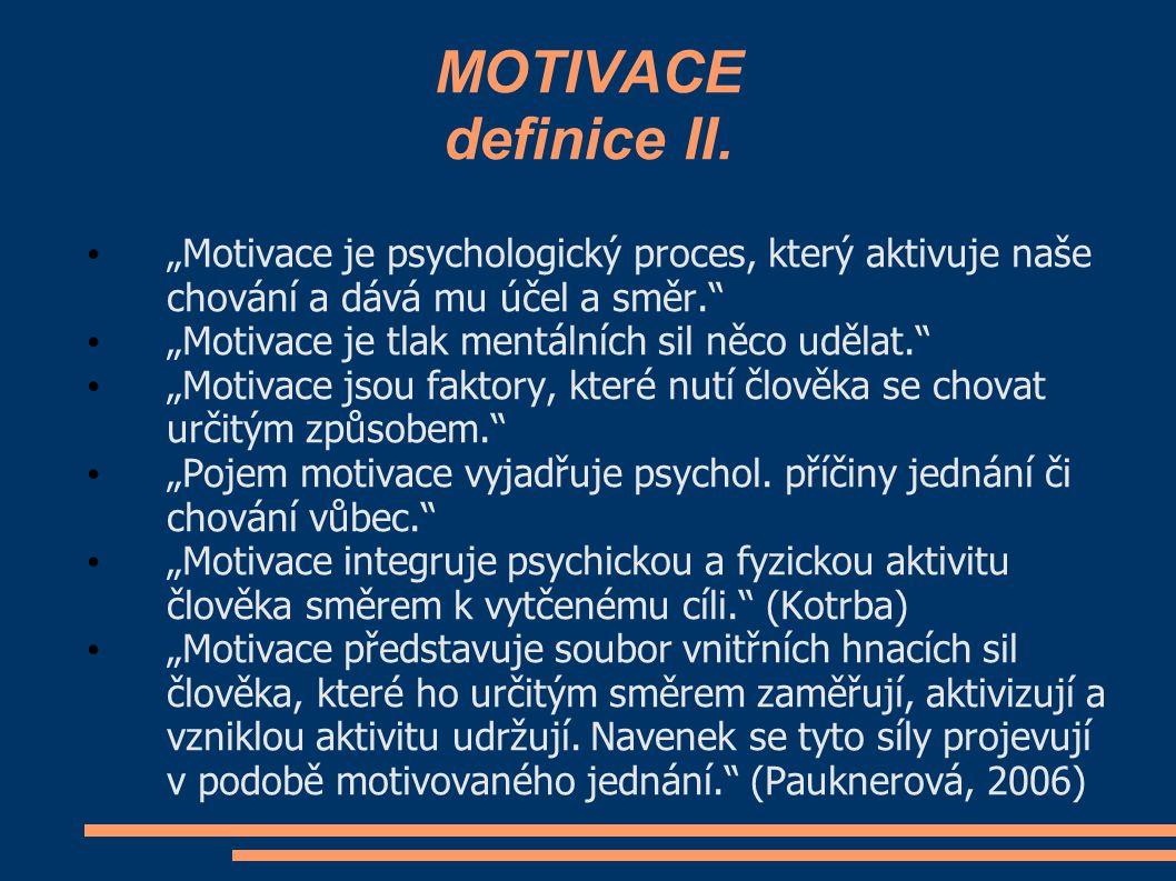 """MOTIVACE definice II. """"Motivace je psychologický proces, který aktivuje naše chování a dává mu účel a směr."""